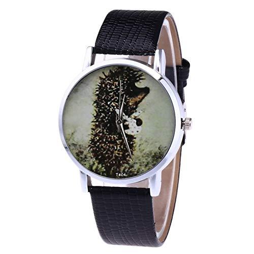 Cuero con plata Shell reloj de cuarzo Hombres y mujer Relojes Cuarzo WatchT404