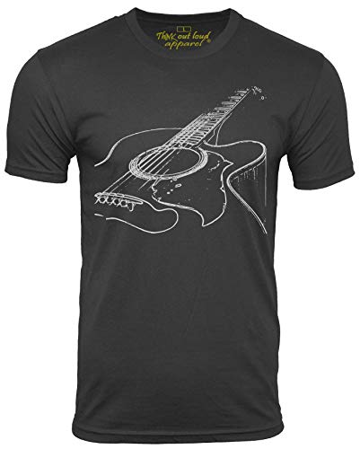 Think Out Loud Apparel Acoustic Guitar Player T Shirt Cool Musician Tee Music T Shirt Artistic Tshirt Black Large
