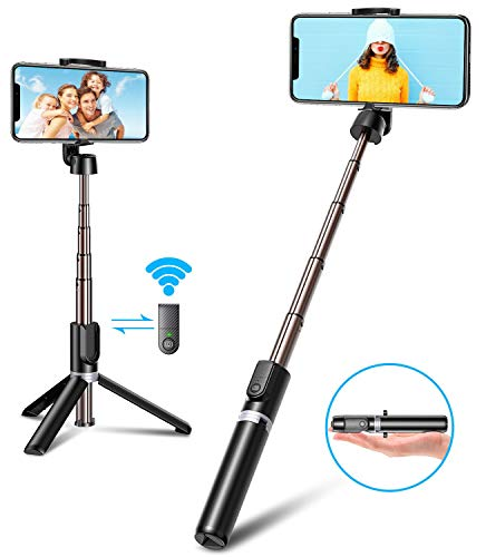 Bovon Bastone Selfie, Mini Estensibile 3 in 1 Selfie Stick Treppiede Smartphone con Telecomando Wireless per iPhone 11 PRO Max/ 11 PRO/ 11/ XS/XS Max/XR/X/ 8/8 Plus/ 7/6, Galaxy S10/ S9/ S8, ECC