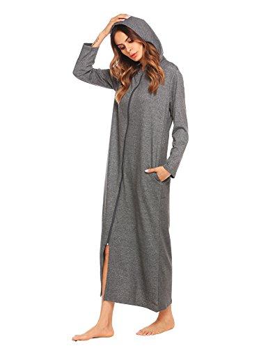 ADOME Damen Lang Morgenmantel mit Kapuze Bademantel Reißverschluß Saunamantel Weiche Gemütliche Robe
