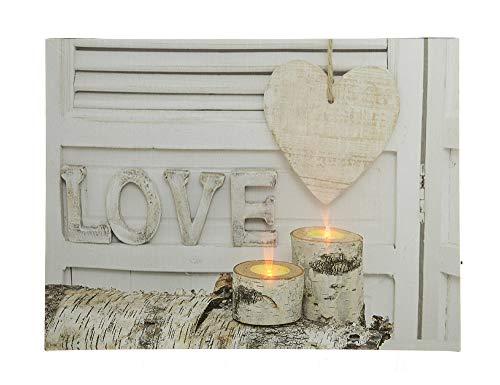 zeitzone LED Bild Love Liebe Wandbild mit Beleuchtung Kerzen Dekobild beleuchtet 30x40cm