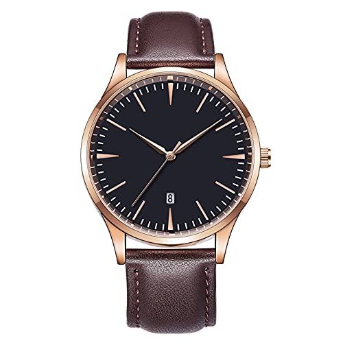WTYU Reloj Automático Hombre,Relojes para Hombre Reloj De Moda De Negocios Cinturón De Malla De Cuero Impermeable Cronógrafo De Cuarzo con Pantalla De Calendario B