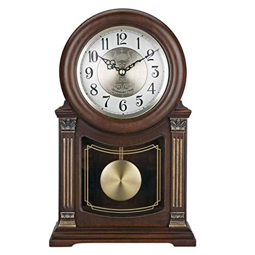 LYLSXY Alarm Clocks,New Home Desk Table for Living Room Decor Bedrooms Vintage Desk Battery Operated Analog Alarm Non-Ticking Silent European Retro Wood