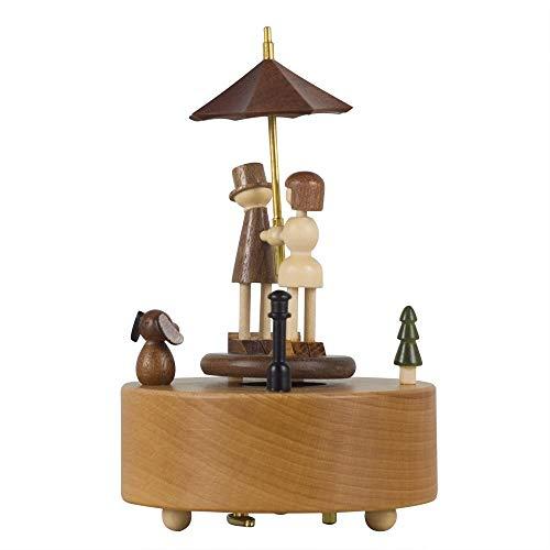VSander Lovers In The Rain Hölzerne Spieluhr Clockwork Drive Buche Kinderhandwerk Kreative Geschenke Geburtstagsgeschenk Valentinstagsgeschenk Pure Musik