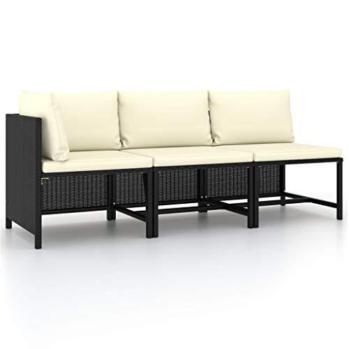 vidaXL Set de Sofás de Jardín 3 Piezas y Cojines Patio Terraza Balcón Salón Sala de Estar Exterior Mobiliario Muebles Almohada Ratán Sintético Negro