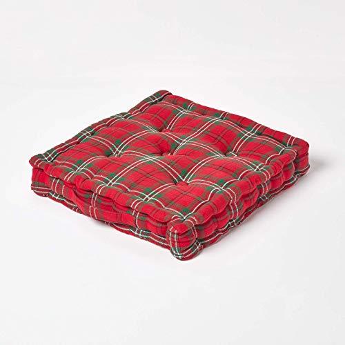 Homescapes – Tartan Edward – 100% Coton – Coussin de Sol – Rouge Vert - 50 x 50 x 10 cm - Carré – Intérieur – Jardin – Rehausseur Chaise de Salon – Coussin Chaise