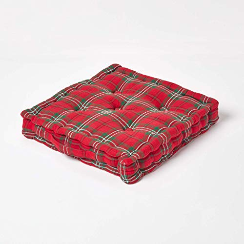 HOMESCAPES - Edward Tartan - 100% Cotton - Large Floor Cushion - Red Green - 50 x 50 x 10 cm Square - Indoor - Garden - Dining Chair Booster - Seat Pad Cushion