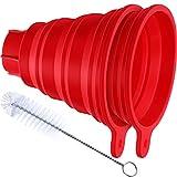 2 Piezas Embudo Plegable de Silicona Embudo de Cocina Grande Plegable Flexible con Cepillo de Limpieza para Frascos Regulares y Boca Ancha Transferencia de Frijoles Polvo Líquido
