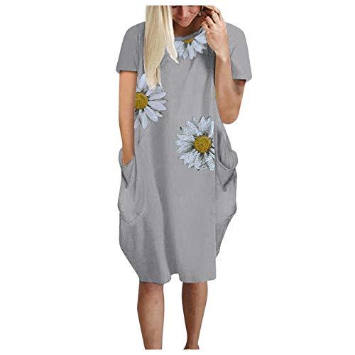 Vestidos de Túnica Casual de Manga Corta con Estampado de Margarita Flores Vestido de Camiseta de Talla Grande con Bolsillos