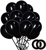 100 Pack Matte Black Balloons (12 Inch) Thick Latex Party Balloons Shiny Black Balloons Black Helium Balloons Birthday Party Wedding Halloween Balloon Graduation Party Supplies DIY Party Decoration