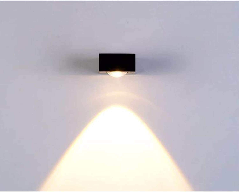 JINHONGH LED-Wandleuchte Moderne LED-Wandleuchte leuchtet Aluminium-Nachtlampe für Wohnzimmer, Schlafzimmer, Beleuchtung Indoor Up Down (Farbe   schwarz, Größe   Single Side 5W-Warm Weiß)