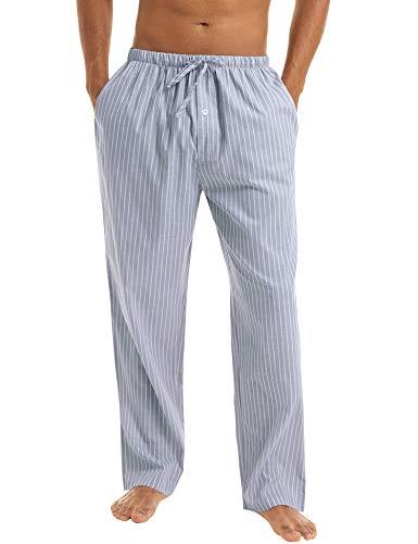 Irevial Herren Schlafanzughose Lang Freizeithose Baumwolle Pyjamahose Streifen Loungewear Nachtwäsche mit Elastischer Sleep Hose