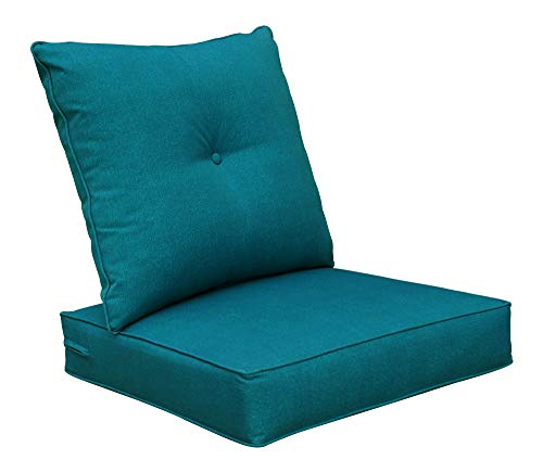BOSSIMA Cushions Patio Furniture Outdoor Water Repellent Fabric Deep Seat Pillow High Back Design Teal Blue