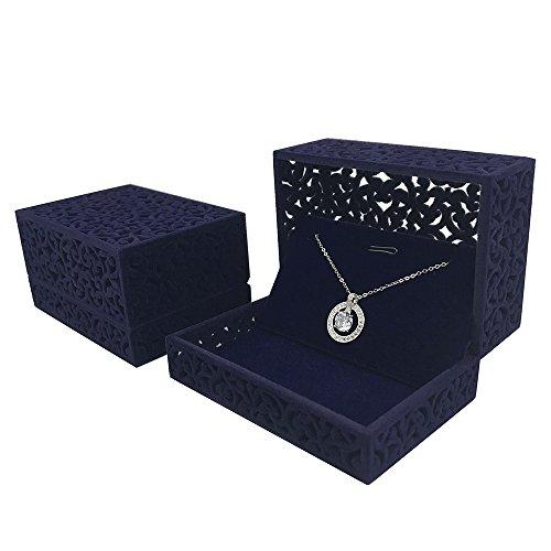 DesignSter Hollow Royal Blue Velvet Jewelry Long Necklace Box
