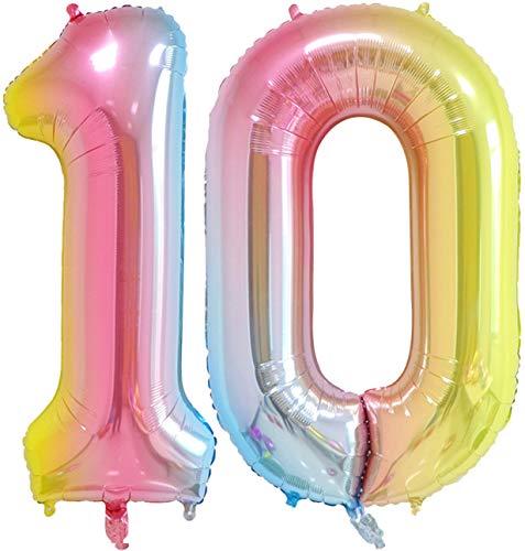 40 inch Number Balloons Foil Helium - 2 PCs Balloons for Birthday Party Decorations Mylar Rainbow Digital Jumbo Balloons for Wedding Anniversary (Rainbow, NO.10)