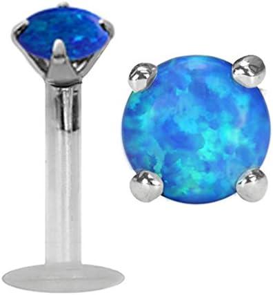 Sparkling Prong set synthetic Blue fire Opal Flex Flexible Bioplastic Labret Monroe lip tragus piercing bar body jewelry Ring 14g, 14 gauge