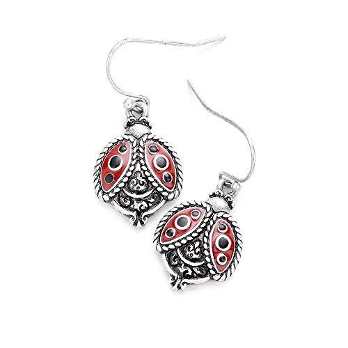 Liavy's Antique Ladybug Fashionable Earrings - Vine Filigree - Enamel - Fish Hook - Unique Gift and Souvenir