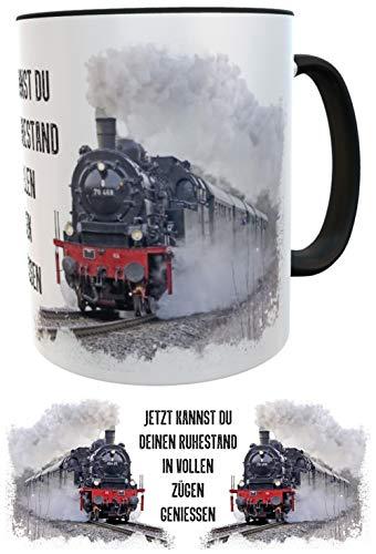 Abschiedsgeschenk Rentner Kollege Kaffeebecher Eisenbahn Dampflok Tee schwarz (schwarz/rot)