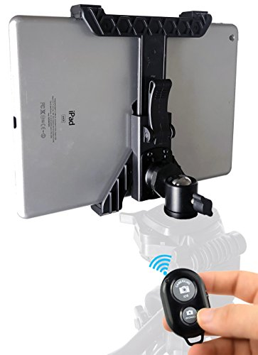 iShot Pro TabMount 360, iPad Tripod Mount, Universal Tablet Tripod Mount with 360° Locking Ball Head & Wireless Remote Shutter - Compatible with iPad & 7-10.5' Tablets