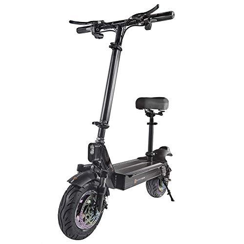 QX - Scooter eléctrico plegable, patinete eléctrico portátil, neumáticos todoterreno de 11 pulgadas, 60 km/h, 3 modos de velocidad, carga USB y posicionamiento GPS, altura ajustable, 75 ~ 85 km