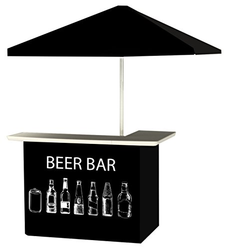 Best of Times 2001W2516 BEER BAR Portable Bar and 6' Square Market Umbrella Black, White