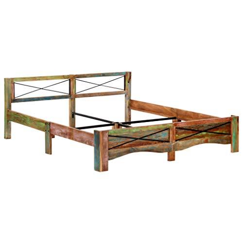 vidaXL Bettgestell Vintage Holzbett Doppelbett Bett Massivholzbett Schlafzimmerbett Futonbett Bettrahmen Ehebett Recyceltes Massivholz 180x200cm