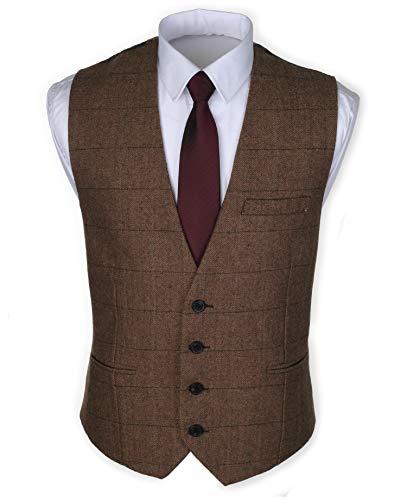 Ruth&Boaz 3Pockets 4Buttons Wool Herringbone Plaid Tailored Collar Suit Vest (XXXL, Herringbone Plaid Camel)
