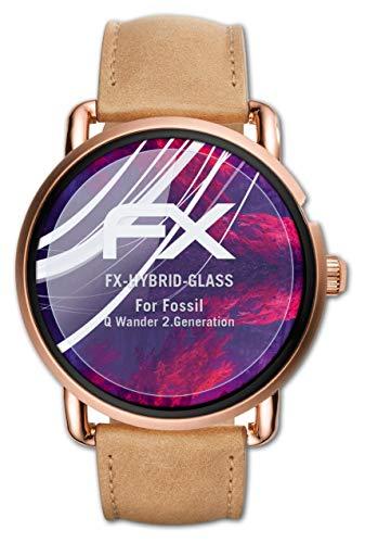 atFoliX Glasfolie kompatibel mit Fossil Q Wander 2.Generation Panzerfolie, 9H Hybrid-Glass FX Schutzpanzer Folie