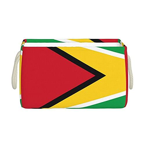 Aufbewahrungskörbe, Flagge von Guyana, faltbar, dekorative Körbe, Organisationsbox mit Handgriffen für Kleidung, Regal, Zuhause, Schrank, Schlafzimmer, 40 x 25 x 20 cm