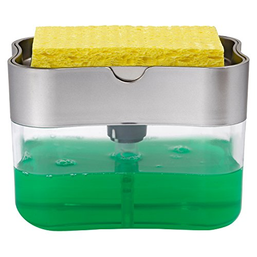 ST 592401 Soap Pump Dispenser and Sponge Holder, 13 Ounces, Silver