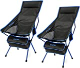 G4Free Upgraded Outdoor 2 Pack Camping Chair Portable Lightweight Folding Camp Chairs with Headrest & Pocket High Back High Legs for Outdoor Backpacking Hiking Travel Picnic Festival (Dark Blue)
