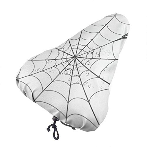 Bike Seat Cover Spiderweb White Minimalist Waterproof Bicycle Seat Rain Cover with Drawstring, Sun/Water/Dust Resistant Bike Saddle Cushion Cover Protector Shield for Women/Men/Unisex