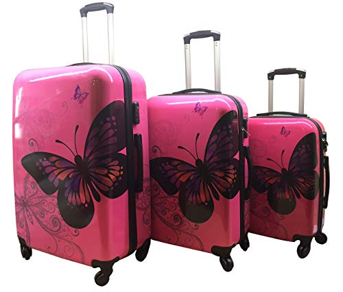 GXK Rose Butterfly Hard Shell Luggage Suitcase 4 Wheel PC Trolley Case Cabin Hand (Size : Set of 3 (20+24+28))