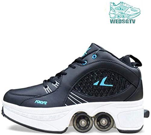 ASDASD Erwachsene Kinder 38 Inline-Skate 2-in-1-Mehrzweckschuhe Verstellbare Quad-Rollschuh-Stiefel Mädchen Schwarz-37-Schwarz_39