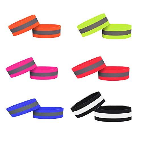 6 Piezas Bandas Reflectantes, Pulsera Reflectante, Bandas Reflectantes Pulser, Banda Luz Lastic con Cierre Velcro Bandas Reflectantes para Correr al Aire Libre, Ciclismo, Correr, Montar (6 Colores)