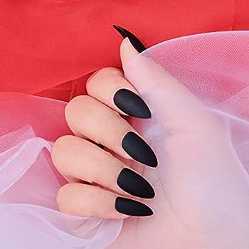 editTime 24PCS Solid Colors Acrylic Stiletto False Nails Full Cover Fake Nails Tips Natural Long Claw Nails  Matte black
