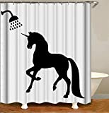 ZYJ Home Decoration. The Shadow of The Unicorn.Shower Curtain 70.8X70.8 Inches. 3D Hd Printing. Waterproof Fabric. Free 12 Hooks.