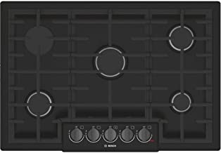 Bosch NGM8046UC 800 Series 30 Inch Wide Built-In Gas Cooktop with 5 Sealed Burne, Black