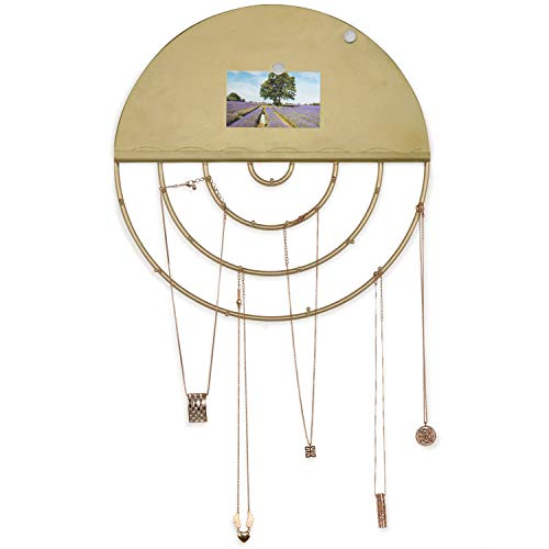 MyGift 19-Hook Round Brass Toned Metal Wall Mounted Jewelry Display Organizer Holder with Magnetic Memory Memo Board
