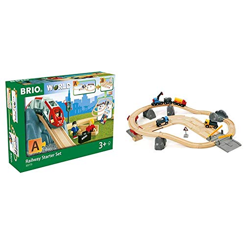 BRIO World - 33773 Railway Starter Set | 26 Piece Toy Train with Accessories and Wooden Tracks & World 33210 - Rail & Road Loading Set - 32 Piece Wooden Toy Train Set for Kids Age 3 and Up