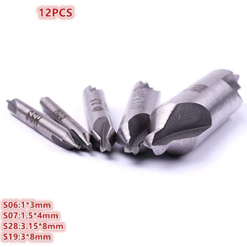 WYX-MAITOUZUAN, 12pcs HSS 13mm/1.54mm/3.158mm/38mm Metric Combined Center Drills Countersinks 2 Edges 60 Degree Angle Bits Tool Hand Tool (Size : 8x3.15mm)