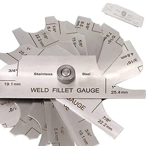 Tektall Stainless steel fillet weld set gage Rl Gauge welding inspection test Unlar metric & inch Accurate 7-pieces