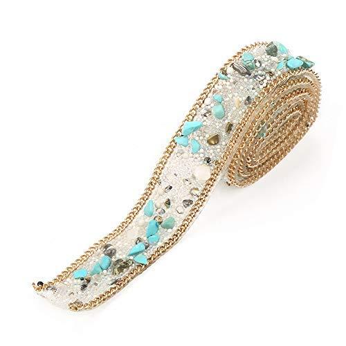 Rhinestones Bead Trim, 3.3ft 0.8in Nupcial Sash Crystal Applique Crystal Beaded Rhinestone Cristales Cinturones Hierro en el parche para la ropa Zapatos Zapatos Boda DIY(#1)