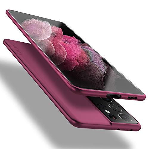 X-level Samsung Galaxy S21 Ultra 5G Hülle, [Guardian Serie] Soft Flex TPU Hülle Superdünn Handyhülle Silikon Bumper Cover Schutz Tasche Schale Schutzhülle für Samsung Galaxy S21 Ultra 5G - Weinrot