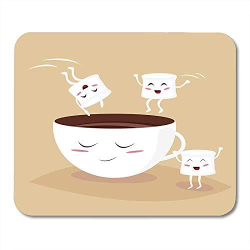 Alfombrillas de ratón Caricatura Dibujos animados Cute Marshmallows Saltando en Kawaii Cacao Cup Coffee Marshmellow Cafe Alfombrilla de ratón para cuadernos, computadoras de escritorio alfombrillas Su