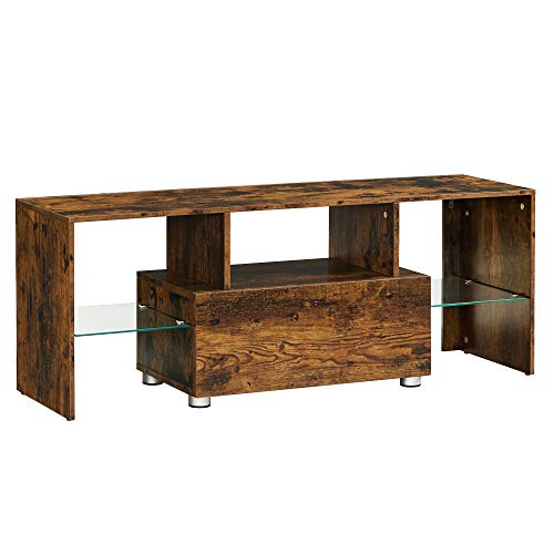 VASAGLE Mueble de TV, Mesa de TV con cajón, Estantes de Almacenamiento de Vidrio, Gabinete para televisores de hasta 55 Pulgadas, Marrón Rústico LTV012X01