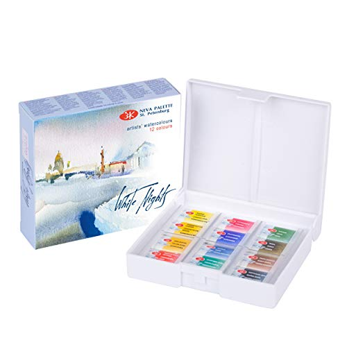 White Nights Artists' Watercolor 12 Pans Plastic Box Nevskaya Palitra