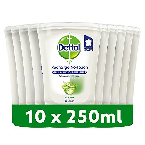 DETTOL Recharge No-Touch Savon Liquide Mains 250 ml - Action Nettoyante - 10 Recharges (Aloe Vera)
