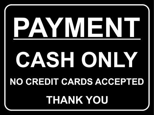 Betaling contant geld alleen geen credit cards geaccepteerd dank u teken - Zelfklevende sticker 150mm x 100mm