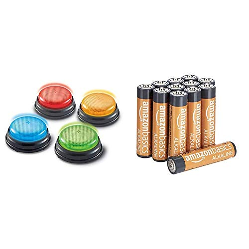 Learning Resources Buzzers Sons/Lumière - Jeu de 4 & AmazonBasics Lot de 12 Piles alcalines Type AAA 1,5 V 1340 mAh (Design Variable)